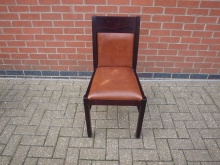 DWBL4 Restaurant Dining Chair with Brown Leather Upholstery