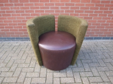 GBLS2 Tub Chair. Brown Leather Seat with Green Upholstery