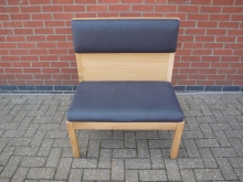 BEGL4 Bench Seat. Lightwood with Grey Leather Upholstery. 2 Sizes Available