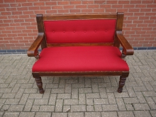 RBEN4 Bench Seat with New Red Upholstery