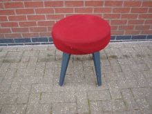 RFLS2 Low Stool with Red Fabric Upholstery