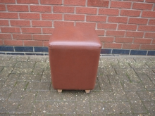 CUBL1 Cube Seat in Brown Leather