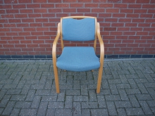 FBCN10 Conference Chair with Light Wood Frame & Blue Upholstery