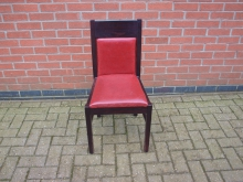 RLDF3 Restaurant Dining Chair. Red Leather Upholstery