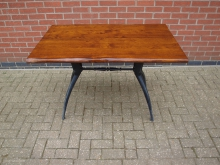 HDSW1 Table. Solid Wood Top with Heavy Cast Base