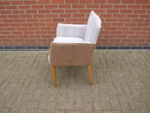 SKNF2 Newly Upholstered Tub Chair. Snakeskin Effect with Brown Fabric