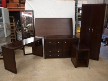 DWBF1 Set of Dark Wood Bedroom Furniture. 6 Pieces
