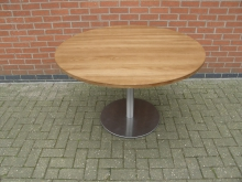 LRBS4 Large Round Table with Brushed Steel Base. Top 120cm Diameter