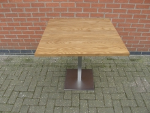 SQBS4 Pedestal Table with Brushed Steel Base. Top 80cm x 80cm