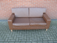 FLS4 Sofa in Brown Faux Leather. Width 170 cm