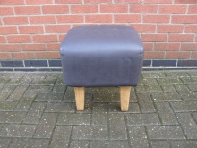 LBFG12 Low Bar Stool in Grey Faux Leather