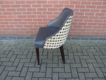 SPTC4 Tub Style Chair. Fabric Back with Faux Leather Seat