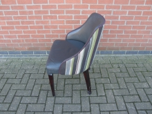 GGST4 Tub Style Chair. Fabric Back with Faux Leather Seat