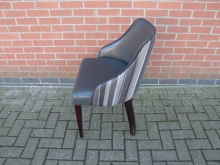 GRFL4 Tub Style Chair. Fabric Back with Faux Leather Seat