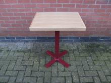 PDRD12 Ex Showroom Pedestal Table. Red Metal Base with Oak Top