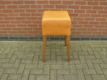 HBR8 High Bar Stool in Orange Leather