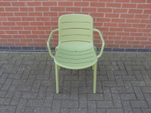GARS28 Green Plastic Outdoor Chair with Arms