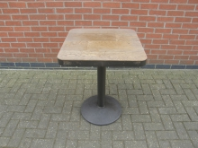 PTME2 Pedestal Table with Metal Edged Top. Size 60cm x 60cm