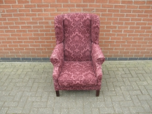 WBRP3 Wing Back Chair with Red Patterned Upholstery
