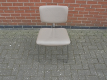 DCL09 Cream Upholstered Chair With Metal Frame