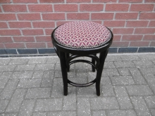 BWLB52 Bentwood Low Bar Stool with Patterned Seat