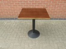 DWGS07 Dark Wood Square Pedestal Table With Brass Edging