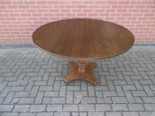 LRT01 Pedestal Dining Table in Dark Wood