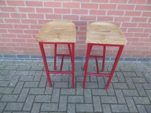 PRMS68 High Bar Stools With Red Metal Base
