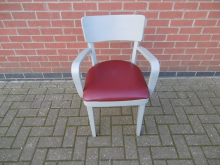 GDCRS06 Grey Dining Chair With Arms & Red Seat Pad