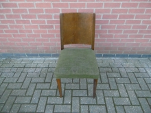 GSDC02 Dark Wood Dining Chair With Green Seat Pad