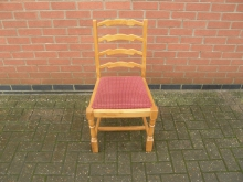 LBLW14 Ladder Back Chair in Light Wood with Red Seat Pad