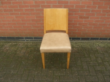 FLBC8 Restaurant Dining Chair with Beige Faux Leather Upholstery