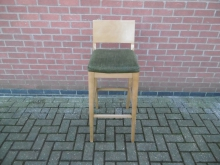 HBSGS03 High Bar Stool With Green Seat Pad