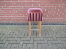 TBSS02 High Bar Stool with a Striped Upholstered Seat Pad