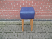 TBSB1 High Bar Stool with Blue Leather Seat Pad