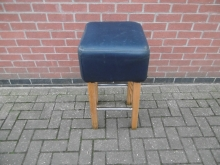 TBSG1 High Bar Stool with Blue Leather Seat Pad