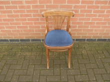 BBB65 Bentwood Style Chair with Blue Seat Pad