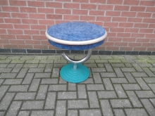 Round Drinks Table with Chrome and Cast Iron Base (tops in need of refurbishment)