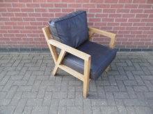 KAC10 Oak Framed Armchair with Faux Leather Cushions