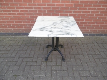MTCB01 White Marble Top Table with Original Cast Iron Base