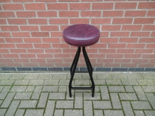 PRS01 Retro High Bar Stool With Purple Seat Pad
