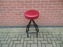 RHB01 Retro High Bar Stool with Red Seat Pad