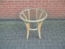 RCOT18 Round Cane Occasional Table with Glass Top