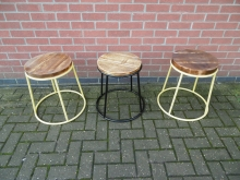 MSWS3 Metal Frame Stool with Wooden Seat, 2 Yellow and 1 Black