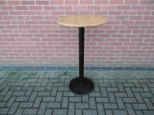 RPDH02 Round Poseur Table with Light Wood Top