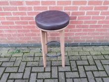 HBSB01 High Bar Stool with Brown Seat Pad