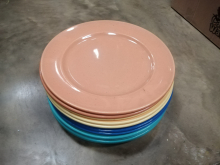 CFC0077 Set of 14 Colourful Plates, Green, Blue, Yellow and Orange
