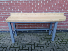 CFC0081 Curved Solid Oak High Table with Grey Legs